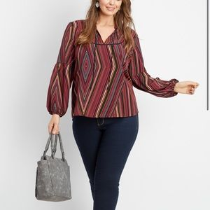 NWT Maurices Womens Blouse Size Large Multi Stripe